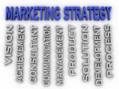 3d image marketing strategy  issues concept word cloud backgroun — Stock Photo