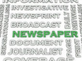 3d image Newspaper  issues concept word cloud background — Stock Photo