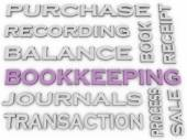 3d image Bookkeeping issues concept word cloud background — Stock Photo
