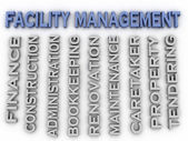 3d image Facility management concept word cloud background — Stock Photo