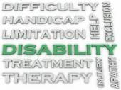 3d image Disability issues concept word cloud background — Stock Photo