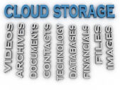 3d image Cloud storage issues concept word cloud background — Stock Photo