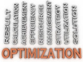 3d image Optimization issues concept word cloud background — Stock Photo