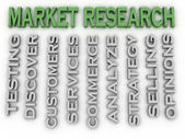 3d image Market Research issues concept word cloud background — Stock Photo