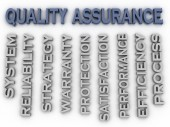 3d image Quality Assurance  issues concept word cloud background — Stock Photo