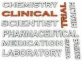 3d image Clinical trial Experiment of a New Product word cloud c — Stock Photo