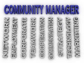 3d image Community manager issues concept word cloud background — Stock Photo