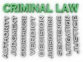 3d image Criminal law word cloud concept — Stock Photo