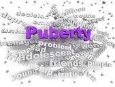 3d image Puberty word cloud concept — Stock Photo