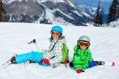 Kids has a fun on ski — Stock Photo