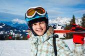 Girl has a fun on ski — Stock Photo