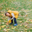 Cute boy with autumn leaves — Stock Photo #56529283
