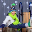Winter Fashion. Portrait of adorable happy boy. — Stockfoto #57770691