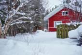 Casa de madeira vermelha do finlandês — Foto Stock