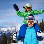 Ski, winter, snow, skiers, sun and fun — Stock Photo #63393203
