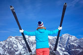 Ski, winter, snow, skiers, sun and fun — Stock Photo