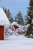 红色芬兰木屋 — 图库照片