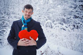 Man holding red heart. — Stock Photo