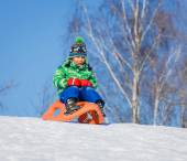 Little boy having fun with sled in winter park — Stock Photo