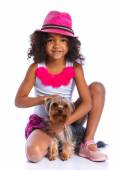 Girl with his Yorkshire terrier — Stock Photo