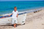 Boy with boat — Stock Photo