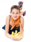 Girl with duckling — Stock Photo