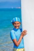 Dívka s surf — Stock fotografie