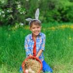 Little boy wearing bunny ears — Stock Photo #73237545