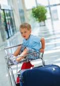 Boy in the airport — Stock Photo