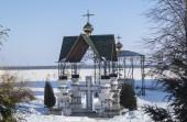 The Canopy on cross in Bogoyavlenskom Mstyorskom male priory.Rus — Stock Photo