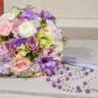 Wedding bridal bouquet with purple beads — Stock Photo #75876885