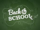 Back to school text on green chalkboard — Vector de stock