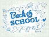 Back to school poster with doodles — Vector de stock