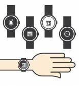 Circle Smartwatch with Icons — Stock vektor