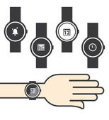Circle Smartwatch with Icons — Vector de stock