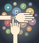 Smartwatch com ícones coloridos de ecommerce — Vetorial Stock