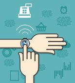 Концепция технологии nfc мобильный платеж с помощью кредитной карты на smartwatch — Cтоковый вектор