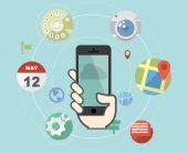 Smartphone z płaskim styl ikon aplikacji — Wektor stockowy