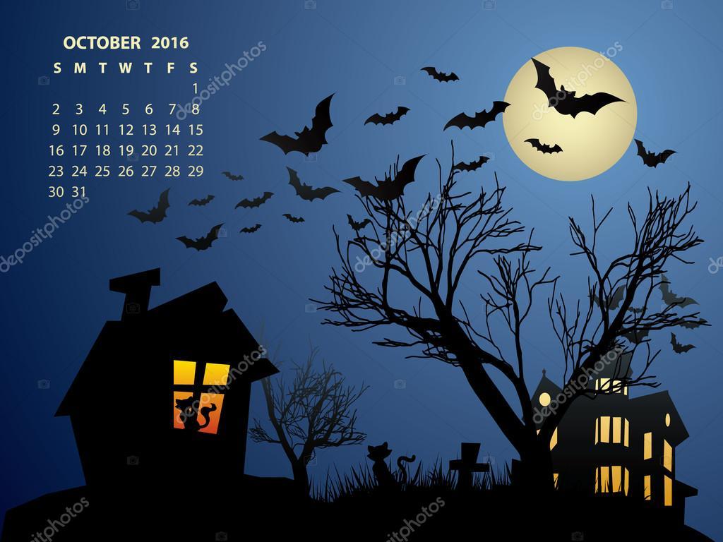 October Calendar  Halloween 2016  Stock Vector  graphit - October 2016 Halloween Calendar