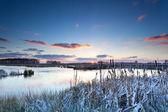 Winter sunrise on river — Foto Stock