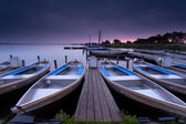 Sunrise over lake harbor — Stock Photo