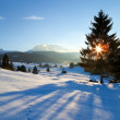 Sunset over winter alpine meadows — Stock Photo #57539897