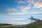 White lighthouse in morning — Stock Photo