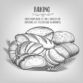 Banner  baking  hand drawn — Stock Vector