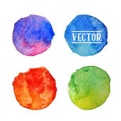 Watercolor circles  stains set — Stock Vector