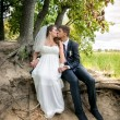 Bride and groom sitting under tree at river bank and kissing — Stock Photo #54853009