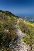 Long gravel path on high mountain at sunny day — Stock Photo