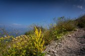 Gravel path on high mountain at sunny day — Stock Photo