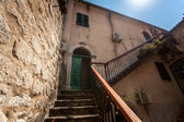 Staircase at backyard of old building at sunny day — Stock Photo