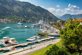 Kotor bay with moored yachts at sunny day — Stock Photo